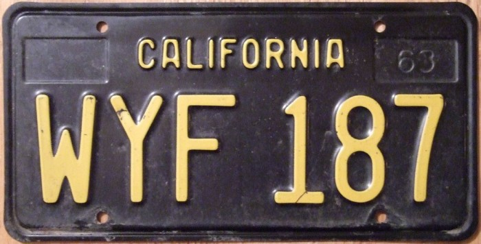 California 1963 license plate